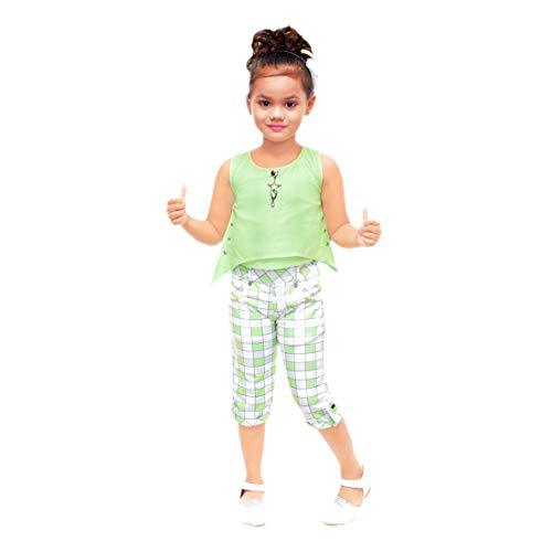 Kids Mandi Floral Kid Girls Dresses, Capri Set for Summer Wear, Casual Wear