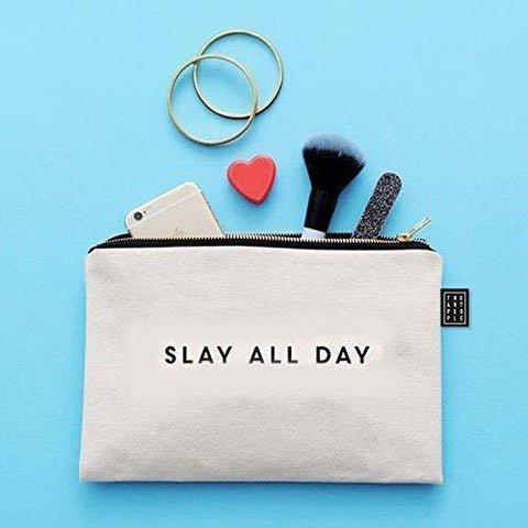 Kids Mandi Canvas Zipper Pouch | Suitable for Cosmetic, Makeup, Student School Art Supplies Organizer, Cute Quote Zip Pouches for Women (Slay All Day)