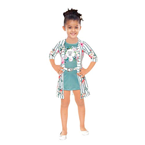 Kids Mandi One Part Sleeveless Short Top with Front Open Full Sleeve Srug for Kid Girls, Suitable for Summer Wear, Casual Wear
