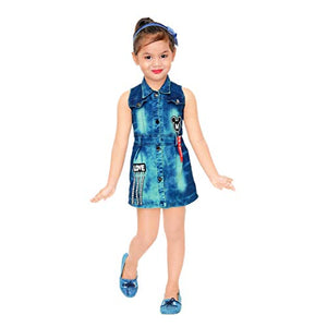 Kids Mandi Floral Kid Girls Dresses, Round Neck Sleeveless Frock for Summer Wear, Casual Wear