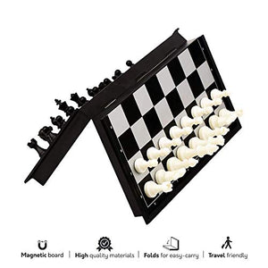 Kids Mandi Magnetic Travel Chess Set with Folding Chess Board and Pieces, Educational Toys for Kids and Adults