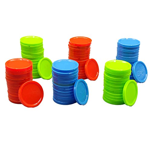 Kids Mandi Plastic Poker Casino Chips, Round Multicolored Coins, Tokens for Counting or Playing Games