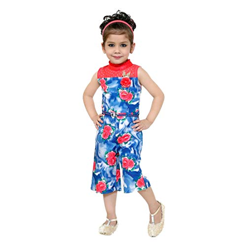 Kids Mandi Floral Kid Girls Dresses, Round Neck Sleeveless Jumpsuit for Summer Wear, Casual Wear