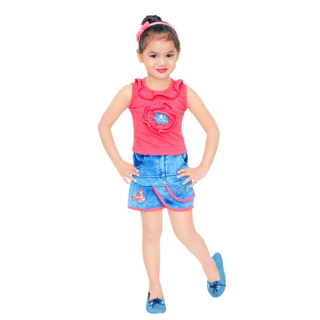 Kids Mandi Floral Kid Girls Dresses, Round Neck Sleeveless Skirt top for Summer Wear, Casual Wear, Party Wear