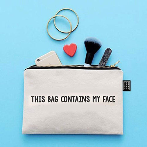 Kids Mandi Canvas Zipper Pouch | Suitable for Cosmetic, Makeup, Student School Art Supplies Organizer, Cute Quote Zip Pouches for Women (My Face)