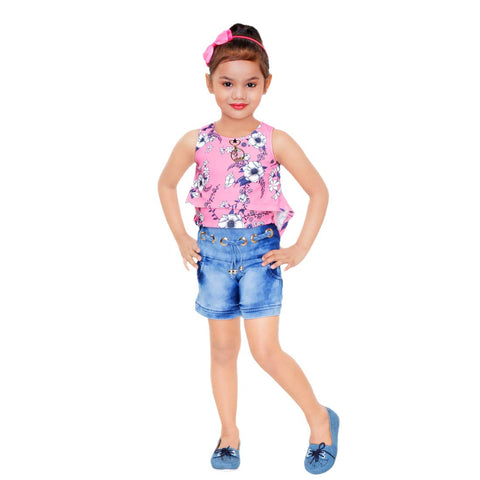 Kids Mandi Floral Round Neck Sleeveless Shorts top For Girls