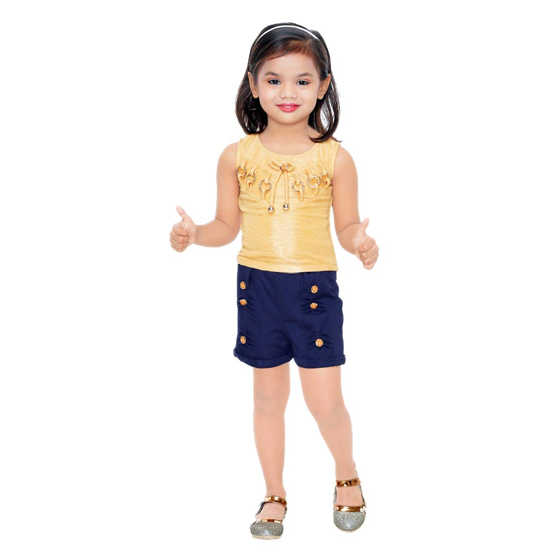 Kids Mandi Floral Kid Girls Dresses, Round Neck Sleeveless Shorts top for Summer Wear, Casual Wear, Party Wear