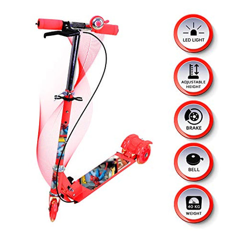 Kids Mandi Smash Street Kids Scooter with Adjustable Height, Brakes and Bell (Red)