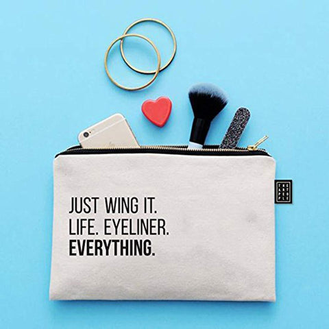 Kids Mandi Canvas Zipper Pouch | Suitable for Cosmetic, Makeup, Student School Art Supplies Organizer, Cute Quote Zip Pouches for Women (Just Wing It)