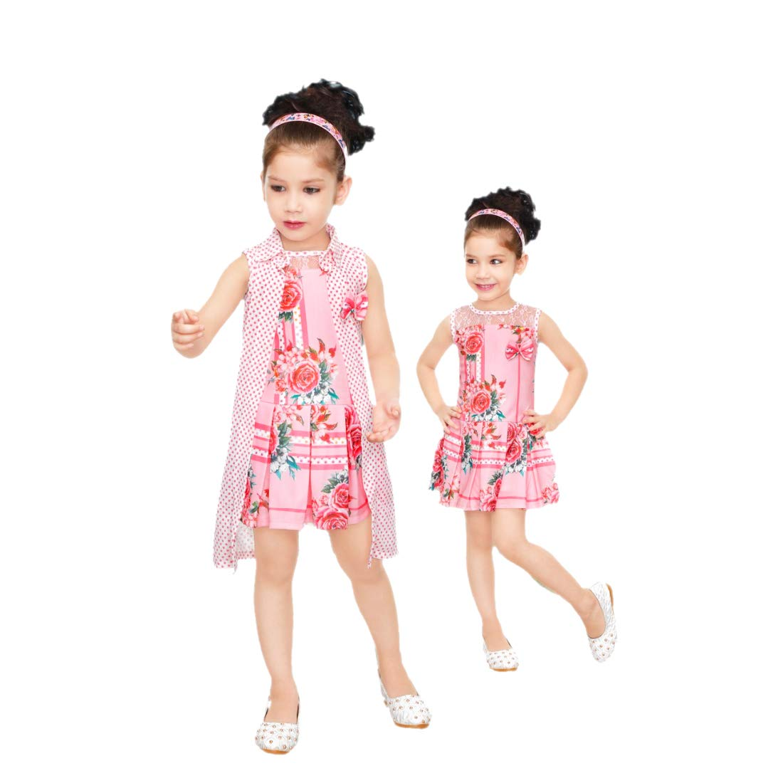 Kids Mandi Floral Kid Girls Dresses, Round Neck Sleeveless Jacket frock for Summer Wear, Casual Wear, Party Wear