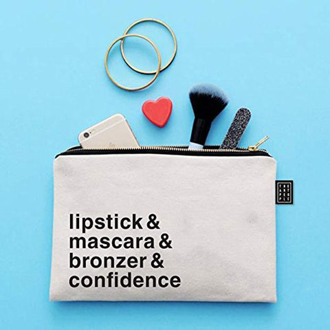 Kids Mandi Canvas Zipper Pouch | Suitable for Cosmetic, Makeup, Student School Art Supplies Organizer, Cute Quote Zip Pouches for Women (Confidence)