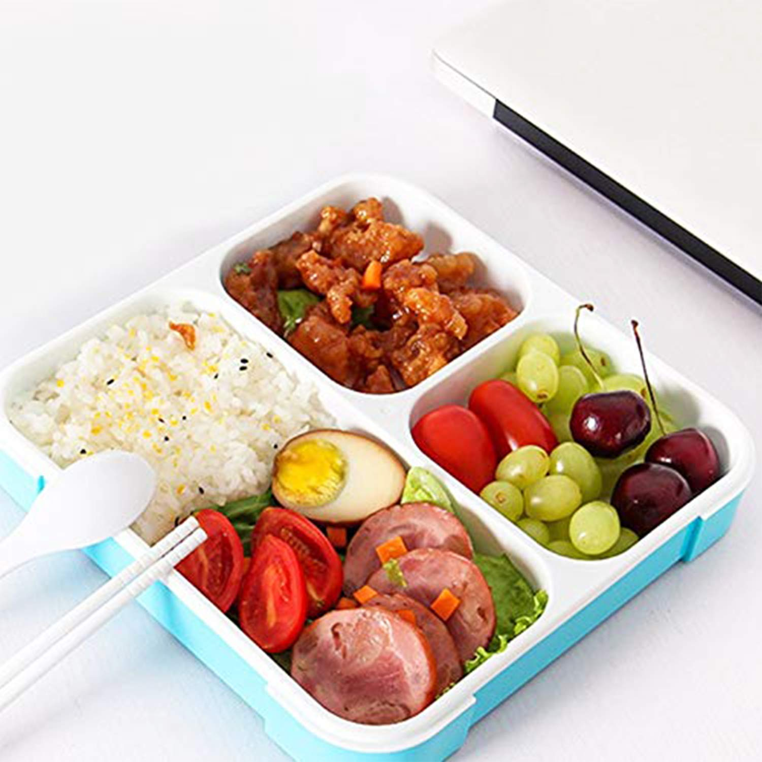 Mundal Plastic Lunch Box, Leakproof 3 Compartment Containers for Snacks, Meal, Tiffin-Box for Boys, Girls, Adults