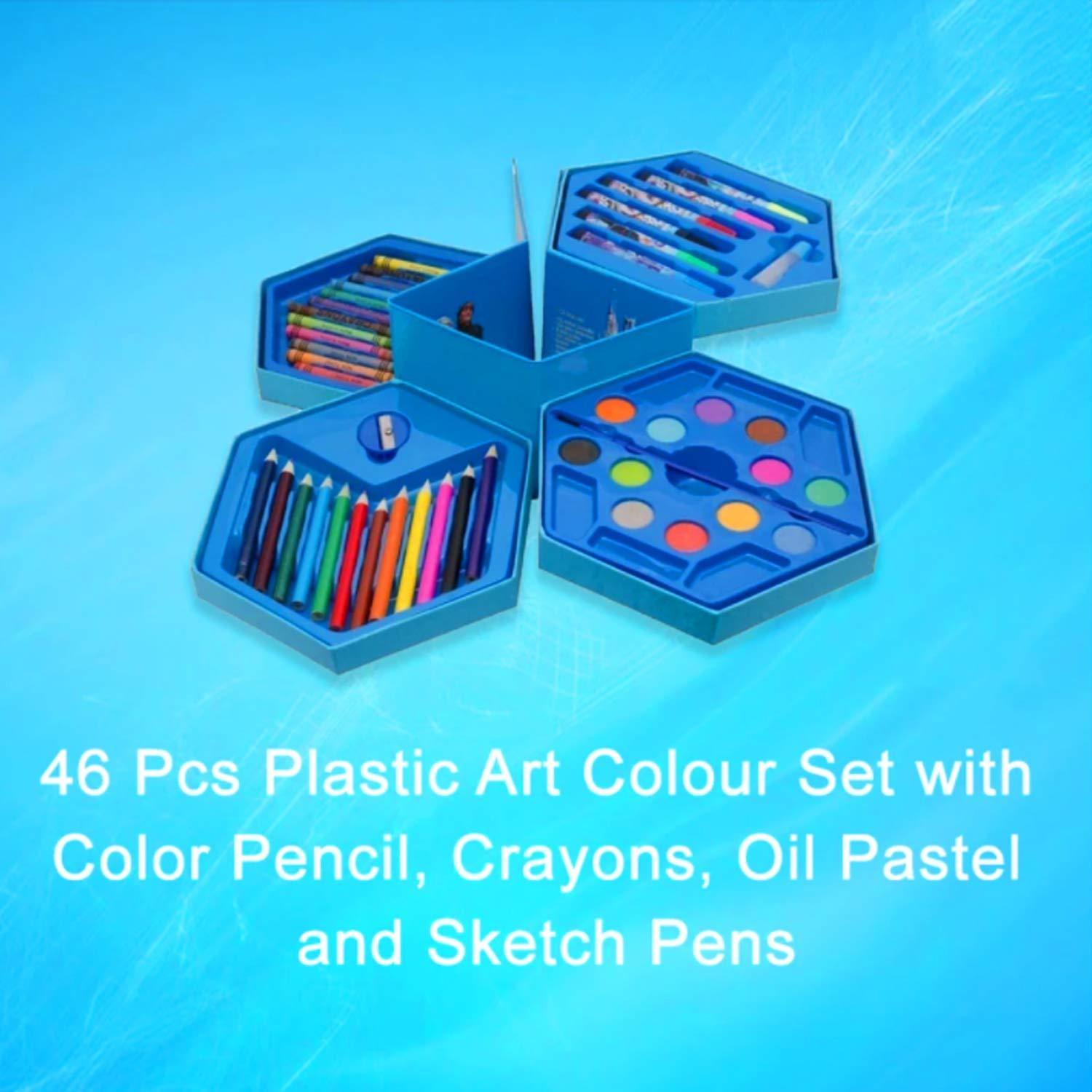 Kids Mandi 46 pieces Multicolour Art Set for kids/Paint brush,Color Pencil, Water color,Crayons,Paint Brush,Eraser,Sharpener (All in 1 color Box) Design may vary