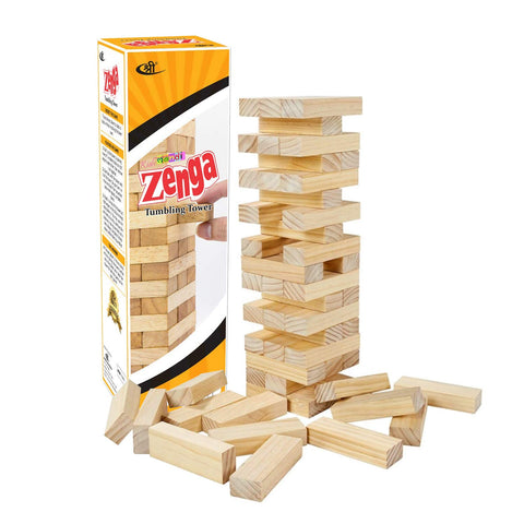 Kids Mandi Wooden Blocks (54 Pieces) - Zenga Colored Stacking and Tumbling Building Blocks for Toddlers Kids Age 3+