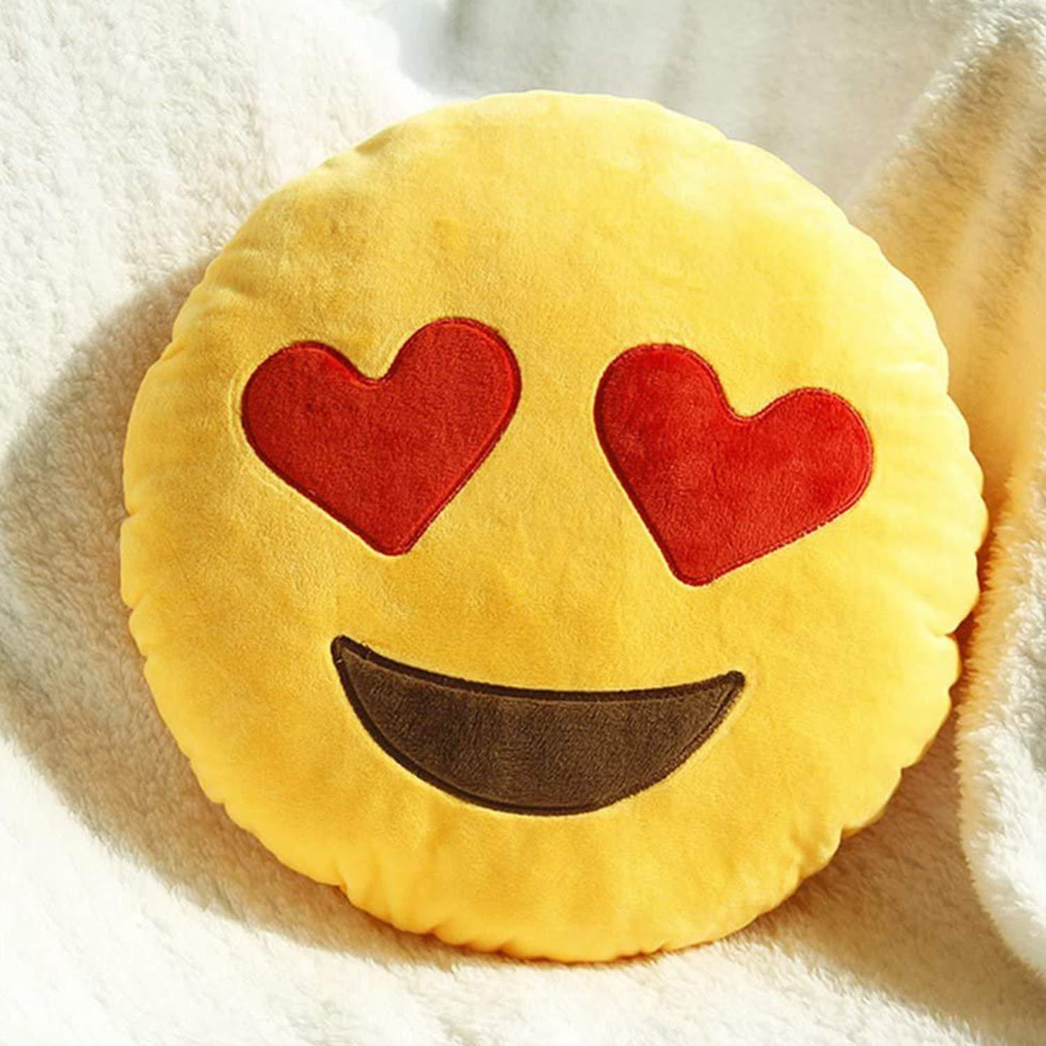 Kids Mandi Emoji Smiley Emotion Yellow Round Cushion Stuffed Plush Soft Pillow - Small Size