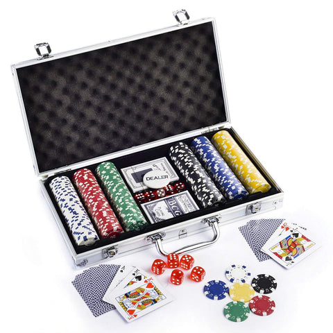 Casino Style 300 Poker Chips Set for Texas Holdem, Blackjack, Gambling | Comes with Aluminum Carrying Case, Cards, Dealer Button and Dice