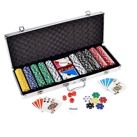 Casino Style 500 Poker Chips Set for Texas Holdem, Blackjack, Gambling | Comes with Aluminum Carrying Case, Cards, Dealer Button and Dice