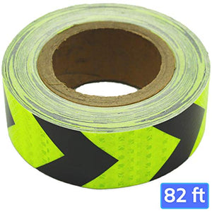 Pure Ponta High Visibility Black and Yellow Reflective Arrow Hazard Tape | 82 feet x 2 Inches High Intensity Waterproof Retroreflective Tape