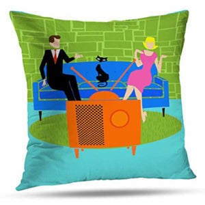 Retro Couple Throw Pillow Cover