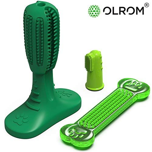 Olrom Dog Toothbrush Stick Brushing Dental Care Doggy Teeth Cleaning Natural Rubber Bite Resistant Chew Toys for Dogs