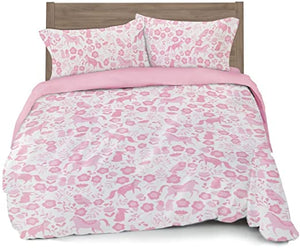 Where The Polka Dots Roam Full/Queen Duvet Cover Pink Folk Animals - Set with 2 Pillowcases