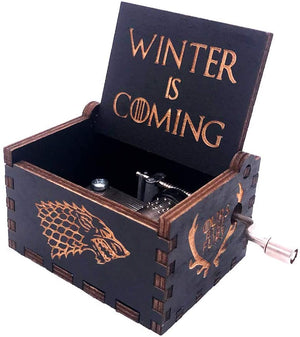 Game of Thrones Music Box Hand Crank Musical Box Carved Wooden Boxes Mini Size