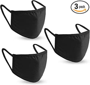 Face Mask Reusable Pack of 3 Washable Black Dust Cotton Masks Face Protection Cover with Pocket
