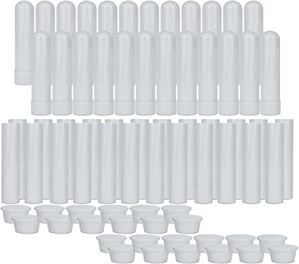 Essential Oil Aromatherapy White Nasal Inhaler Tubes (24 Complete Sticks), Empty Blank Nasal Inhalers