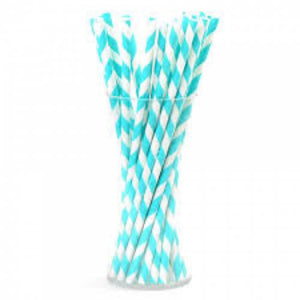 Blue Twist Paper Straws - 50 Count