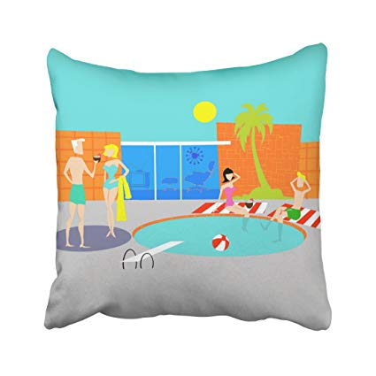 Retro Pool Party Throw Pillow Cover