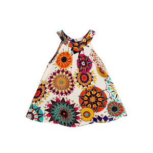 Hipea Baby Girls Clothes Sleeveless Bohemian Flower Printed Princess A-line Dress
