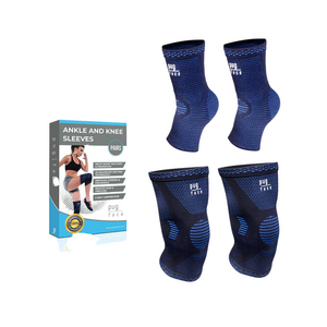 Compression Knee Sleeves & Ankle Sleeves Set - Large