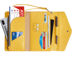 Yellow Leather Travel Clutch Purse