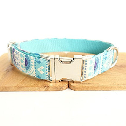 "Dog Collar - The Folk Blue - Size Small Neck 12""-16"" Width 1'"