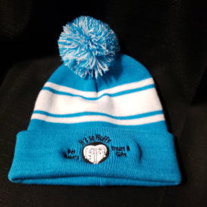 Blue/White Beanie with It's So Fluffy Logo
