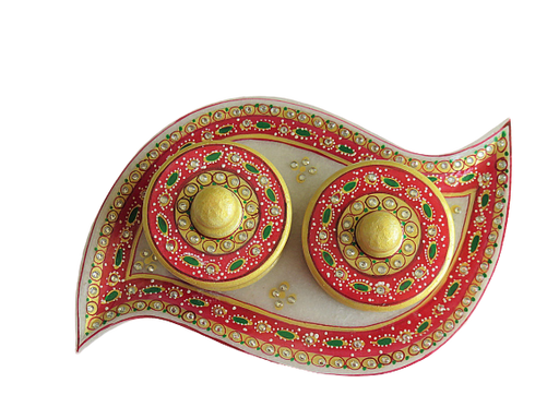 IndicHues Handmade Marble Handicraft Curvy Shaped Dry Fruit