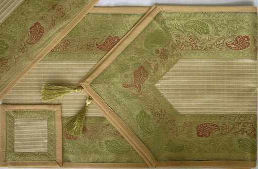 IndicHues Brocade Silk Table Runner with 6 Place Mats & 6 Coaster - IndicHues