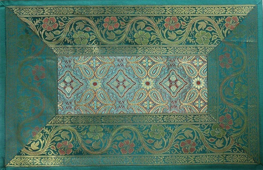 IndicHues Brocade Silk Table Runner with 6 Place Mats & 6 Coaster