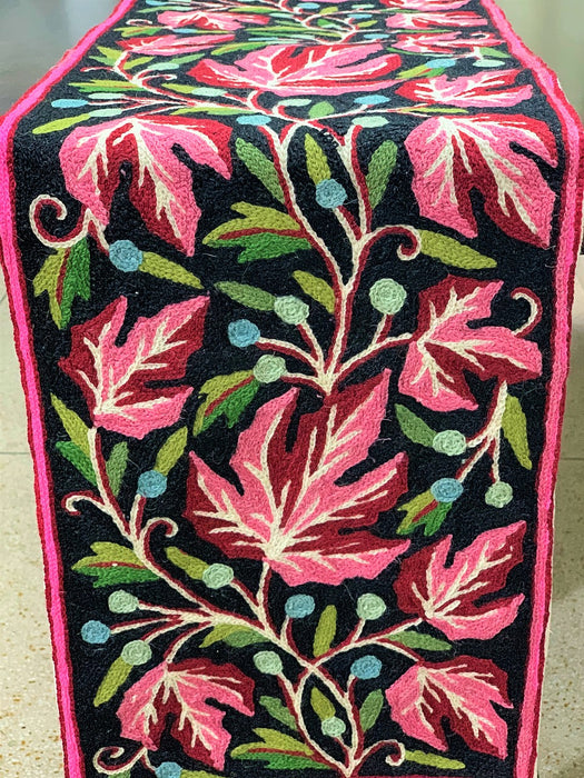 IndicHues Handmade Hand Embroidered With Wool Thread Crewel Work 1x4 feet Table Runner From Kashmir