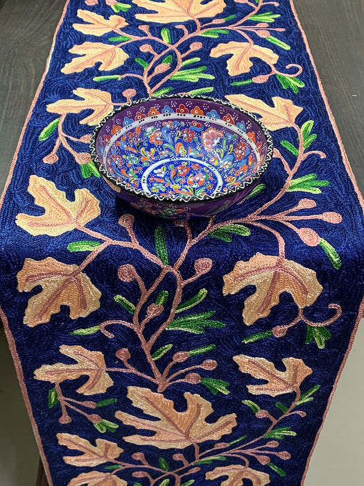 IndicHues Handmade Hand Embroidered With Silk Thread Crewel Work 1x6 feet Table Runner From Kashmir