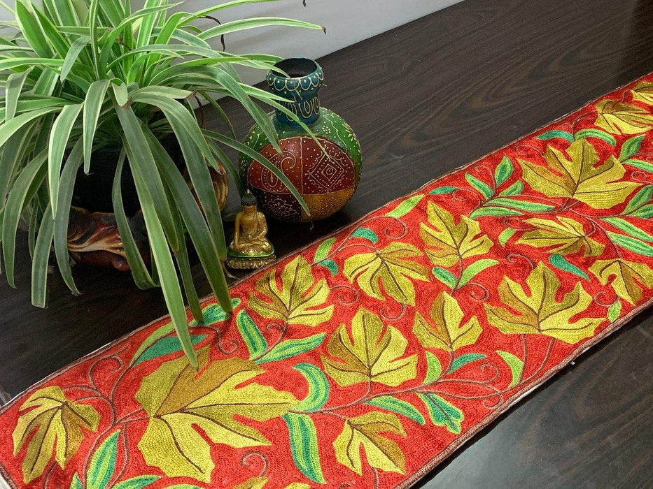 IndicHues Handmade Hand Embroidered With Silk Thread Crewel Work 1x4 feet Table Runner From Kashmir - IndicHues