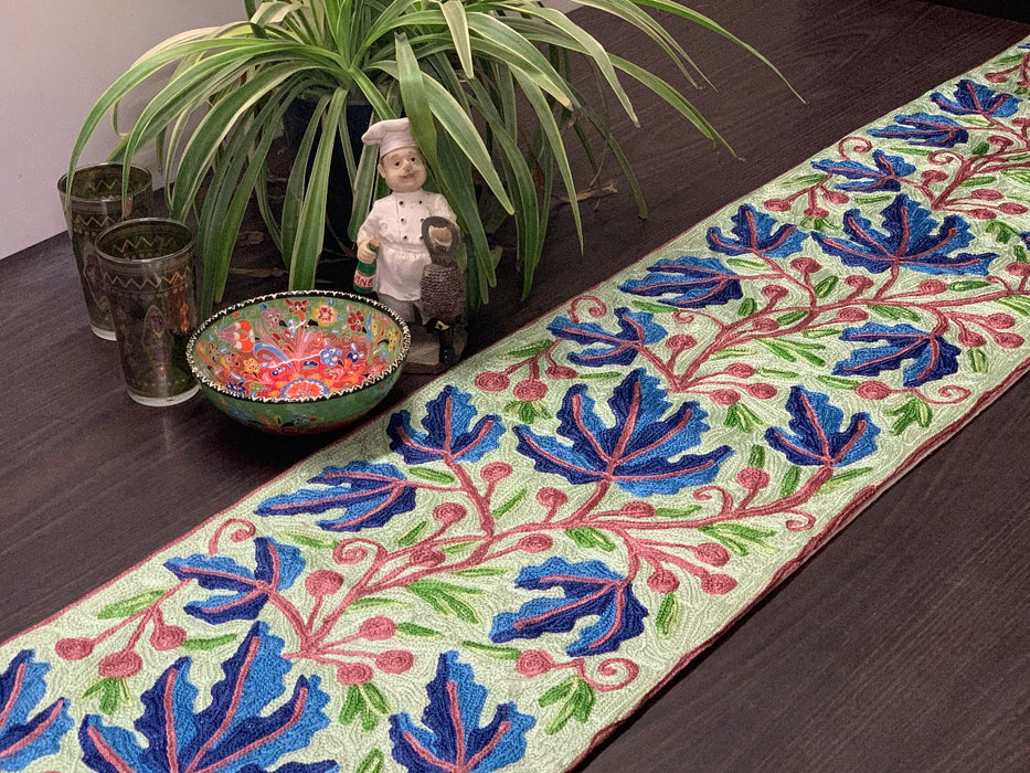 IndicHues Handmade Hand Embroidered With Silk Thread Crewel Work 1x5 feet Table Runner From Kashmir