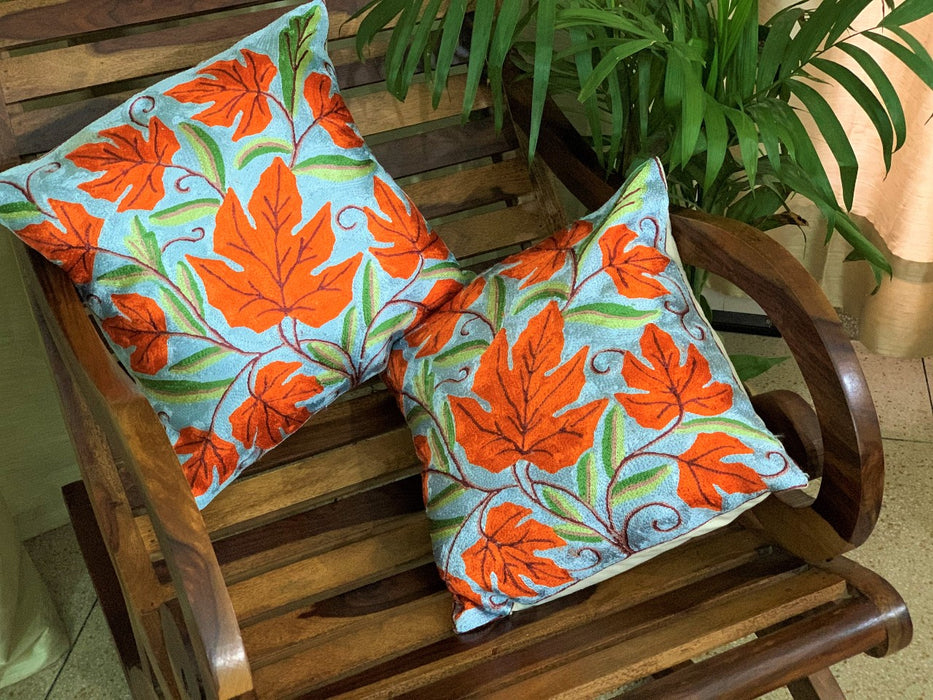 IndicHues Set of 2, Hand Embroidered Crewel 16x16 Cushion Covers from Kashmir