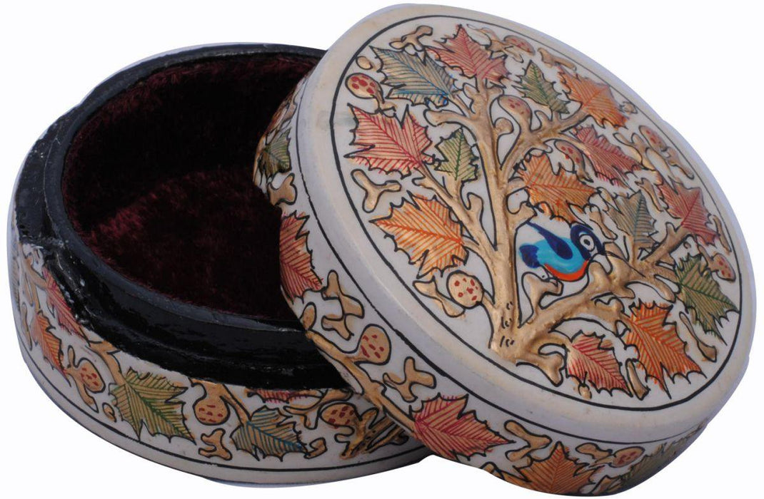 IndicHues Decorative Handpainted Round Paper Mache Trinket Jewelry Box