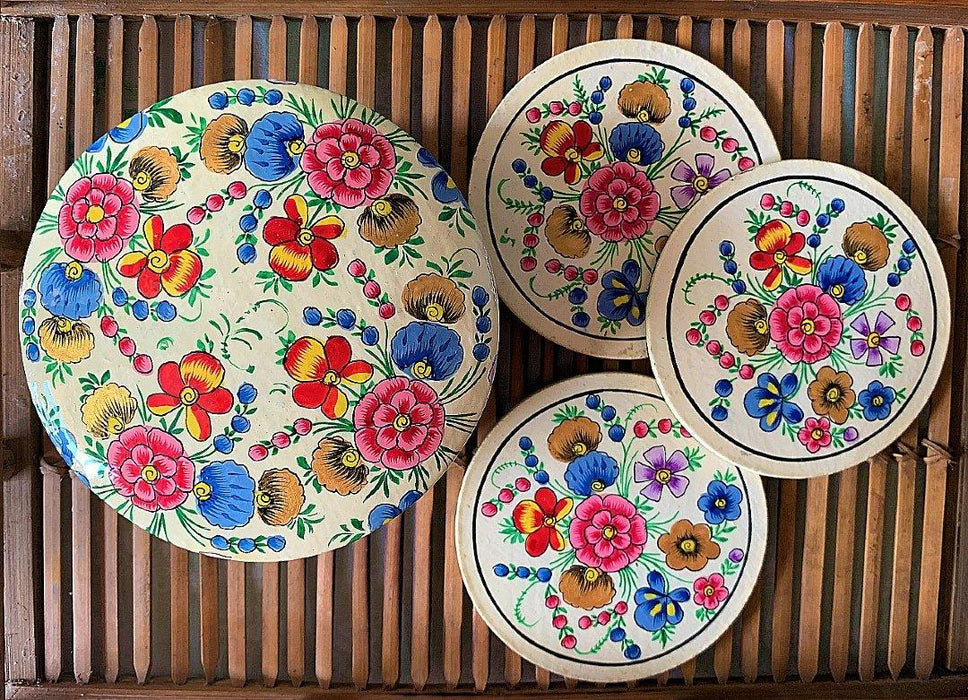 IndicHues Floral Handmade Round shape Paper Mache Coaster set from Kashmir