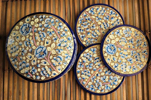 IndicHues Floral Handmade Round shape Paper Mache Coaster set from Kashmir - IndicHues