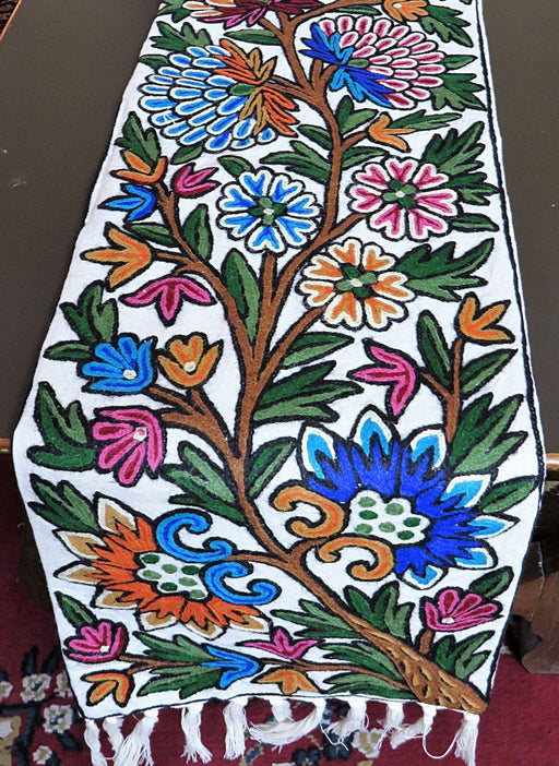 IndicHues Hand Embroidered Crewel Table Runner from Kashmir - IndicHues
