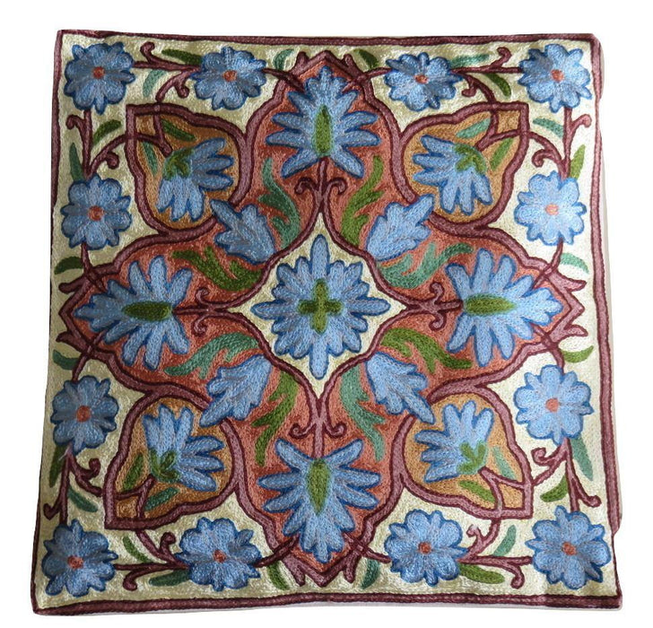IndicHues Hand Embroidered Kashmiri Crewel 16x16 Cushion Cover in Blue motif with Yellow Base