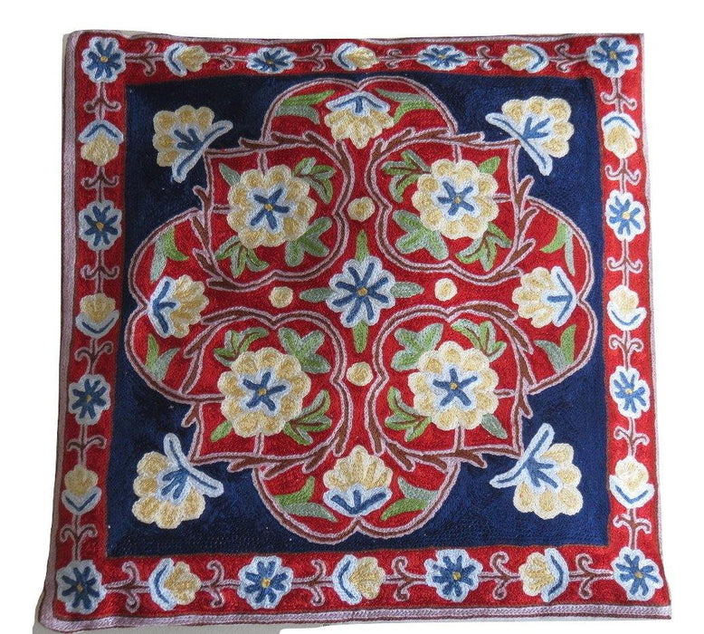 IndicHues Hand Embroidered Kashmiri Crewel 16x16 Cushion Cover in Yellow motif with Dark Blue Base