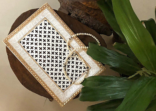 IndicHues Handcrafted Marble Rectangular Tray from Rajasthan - IndicHues